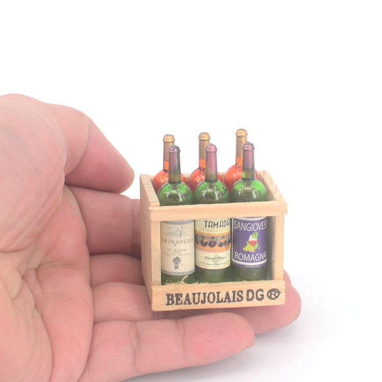 1:12 Dollhouse Miniature Whisky Wine Bottle Set With Frame Mini Doll House Toys Food Kitchen Living Room Accessories