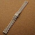 Mulheres pulseira de prata com ouro cor 14mm 18mm 20mm 22mm de Aço Inoxidável Sólido Links Watch Band Pulseiras correia Frete Grátis