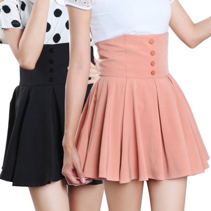 High Waisted Pleated Skater Skirt - Dress Ala