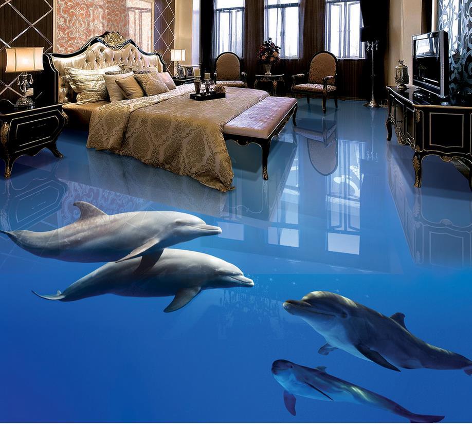 Photo wallpaper mural floor ocean dolphin 3d wall murals for 3d wallpaper for home floor
