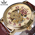 SEWOR Automatic Mechanical Watch Mens Watches Top Brand Luxury Brown Leather Skeleton Watchbands Fashion Relogio Masculino New