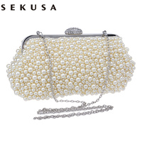 Full Beaded Women Vintage Evening Bags Imitation Pearl Shell Shaped Women Bag Shoulder Bags Diamonds Clutch