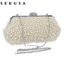 ФОТО full beaded women vintage evening bags imitation pearl shell shaped women bag shoulder bags,diamonds clutch bag for wedding