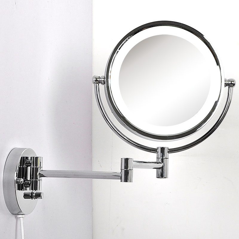 260mm Makeup Mirrors Led Wall Mounted Extending Folding Double Side Dimming Led Light Mirror Cosmetic Mirror Lights