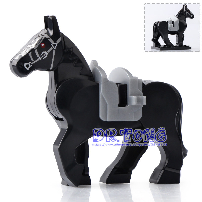 DR TONG 20pcs lot Xh684 black Horse Hobbit Lord of Ring Medieval Castle Soldiers Horse Building