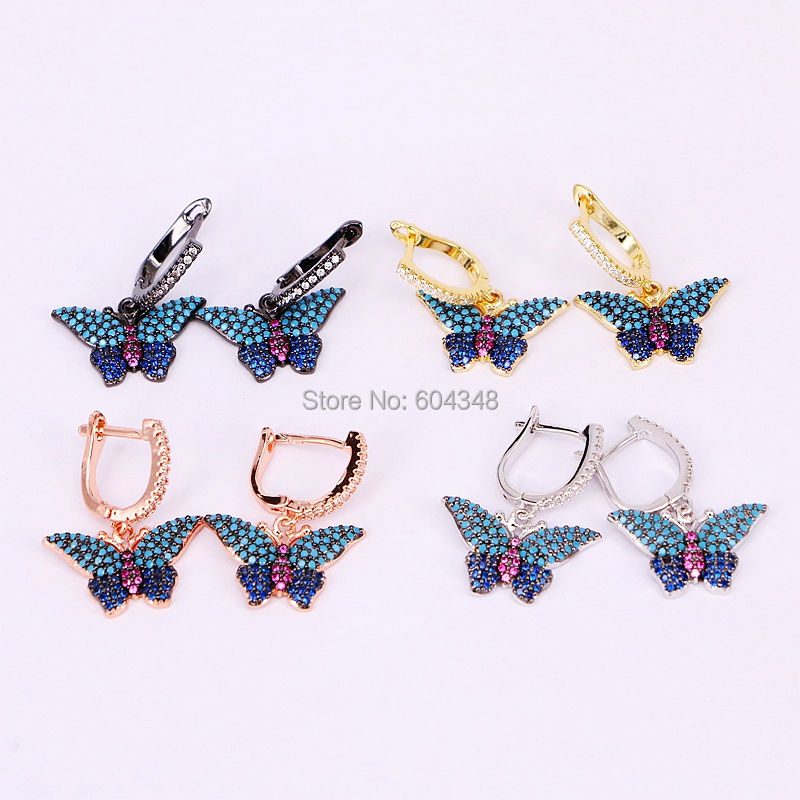 5 Pairs ZYZ186-8514 Fashion Micro pave CZ butterfly insect earrings, blue stones wings insect jewelry earrings gift for women