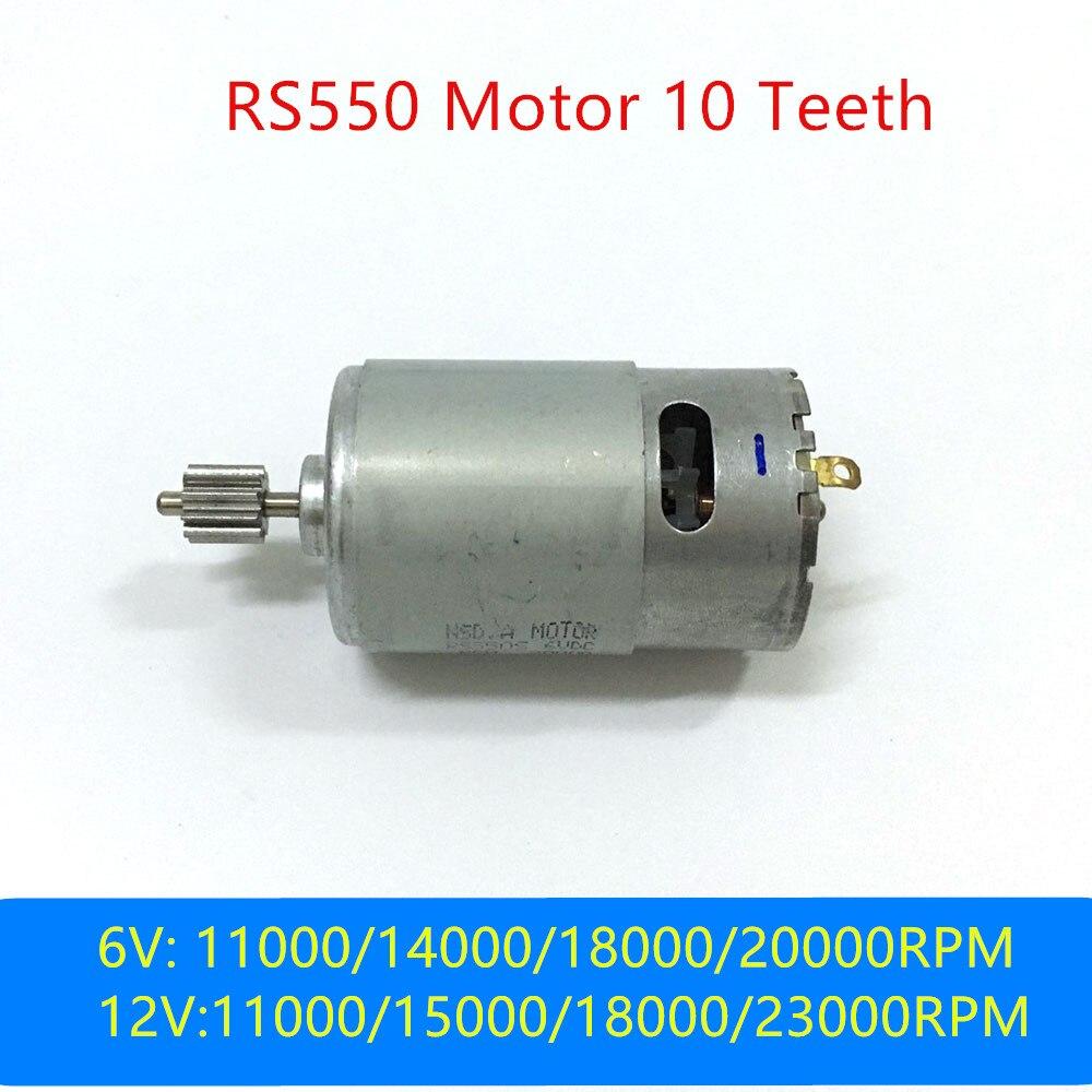 550 As Crianças do carro elétrico do motor 12 V DC, do Motor Do Motor RS550 criança motocicleta elétrica 6 v 10 dentes