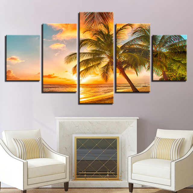 Canvas Paintings Home Decor 5 Pieces Sunset Beach Wave Palm Trees Seascape  Posters Bedroom Wall Art