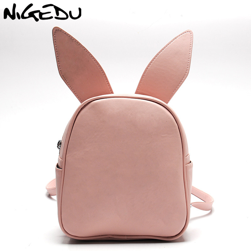 Women Backpack Small Cute Modeling Bat Wing Rabbit Cat Ear Backpacks For Girls School Bag Three Pairs Of Ears Shoulder Bag