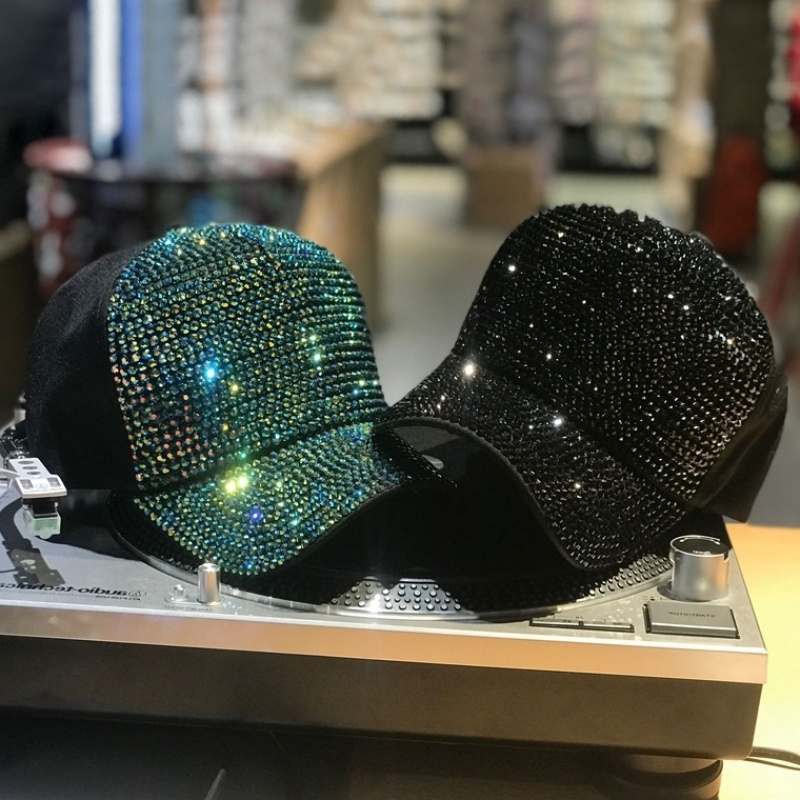 2019 Rhinestones luxury pearl Sequins Baseball Cap For Women Summer Cotton Hat Girls Snapback Hip hop hat Gorras Casquette Bones