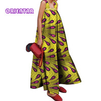 2019 Summer African Dresses for Women African Wax Print Bazin Riche Fashion Sleeveless Loose Plus Size Maxi Long Dress WY4480