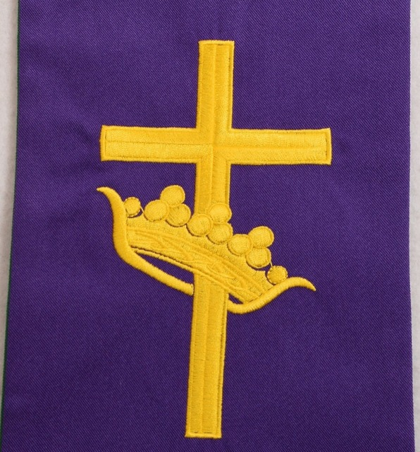 Church Reversible Stole Priest Bird Cross Embroidered Stole Green Purple
