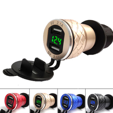EU Dual USB Motorcycle Charger 12-24V 4.2A Scooter Moto Adapter Cigarette Lighter For BMW Metal Modified Car