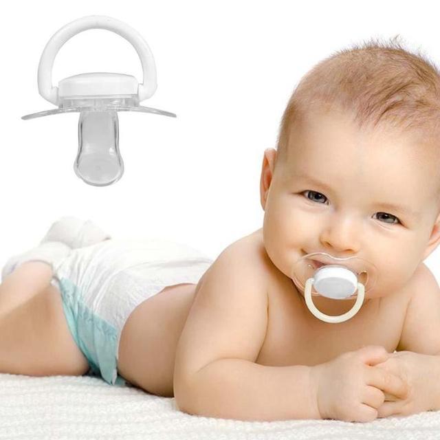 Chupete de silicona para bebé recién nacido transparente patrón de pulgar plano pezones para bebés chupetes de Gel de sílice para recién nacidos