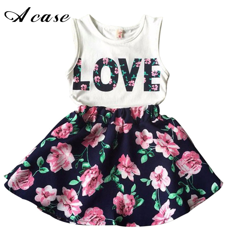 Children Clothing Set 2018 New Summer Girls Print Love Floral Vest Tops + Skirt Sets Kids Girl Casual Clothes Skirts Suit Outfit princess toddler kids baby girl clothes sets sequins tops vest tutu skirts cute ball headband 3pcs outfits set girls clothing