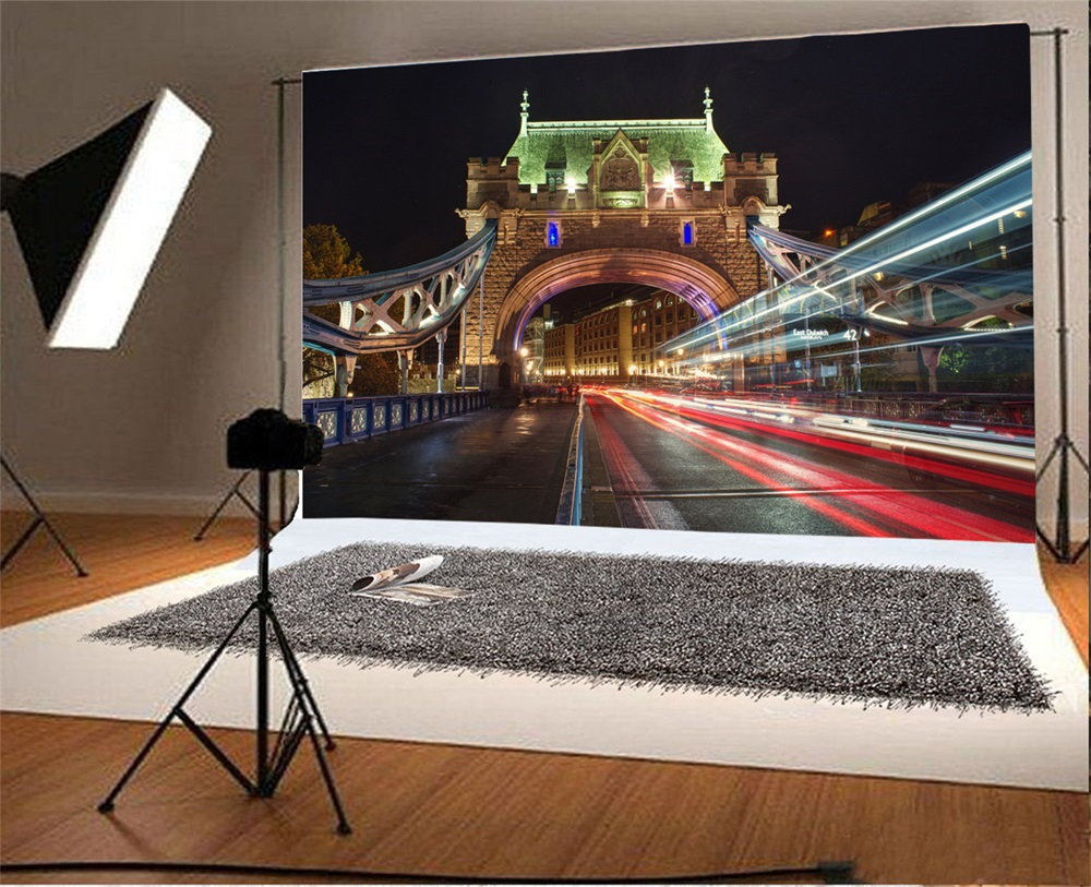Laeacco Vintage Building Traffic Light Night Scenic Photographic Backgrounds Customized Photography Backdrops For Photo Studio