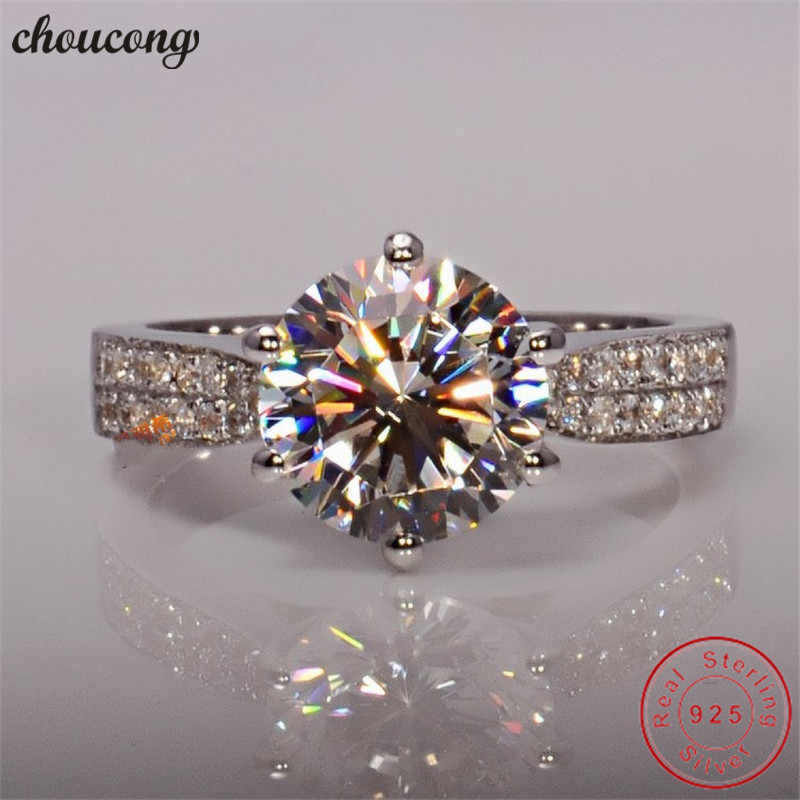choucong Solitaire Ring 925 sterling Silver Round cut 3ct AAAAA cz stone Engagement Wedding band Rings For Women Jewelry Gift