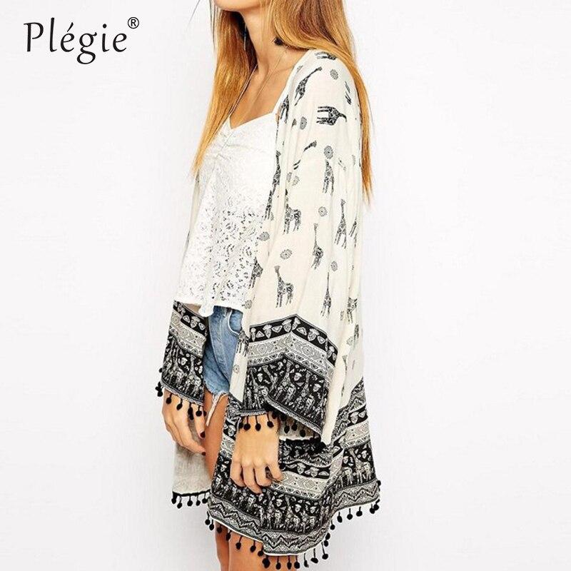 Женская винтажная блузка в европейском стиле с принтом жирафа, кимоно с кистями, весна-лето
