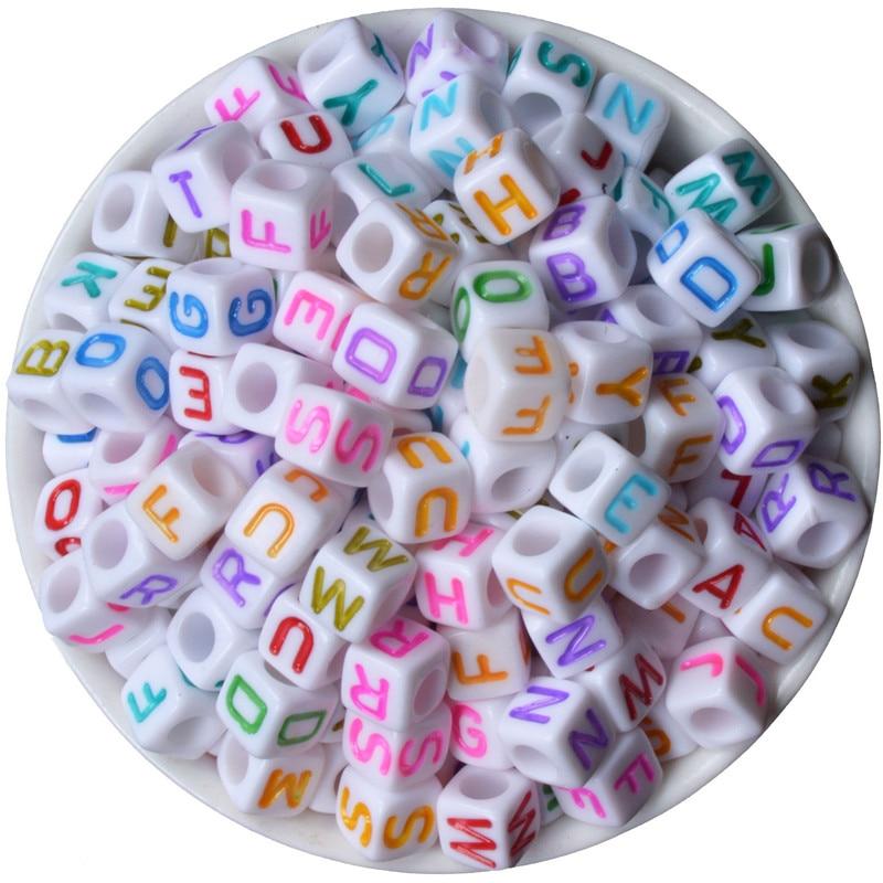 Modestil Kunststoff Alphabet Weiß 200 StÜck Größe Von 6x6 Mt Perlen Acryl Briefe Kinder Bildung Handgemachte Diy Armband Perlen Perlen