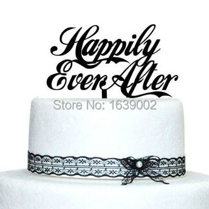 Happily Ever After Wedding Cake Topper Acrylic Customised Words - Words on cake for birthday