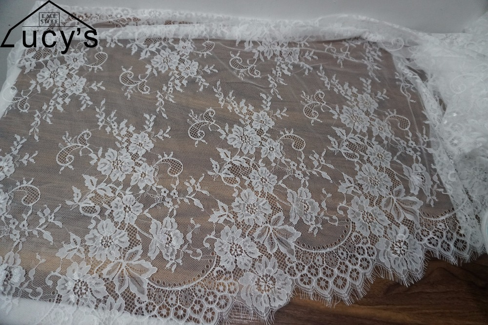 """Lily 5/"""" White and Ivory Beaded Sequins Floral Gorgeous Fine Lace Trim By Yardage"""