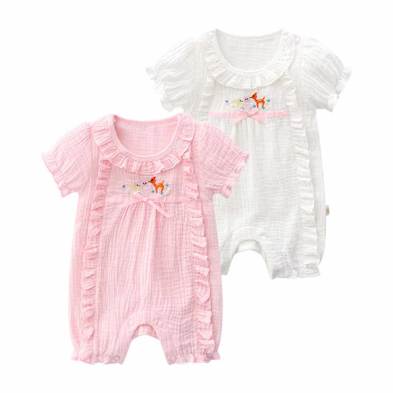 Mameluco de manga corta para bebé, para niño, con volantes, escalada, tela de lino transpirable, mono lindo para niña, ropa de gateo de alta calidad