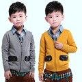 2016 niños del otoño muchachos de la ropa suéteres causal de manga larga con cuello en v de algodón bebé cardigan suéteres para niños niños prendas de vestir exteriores