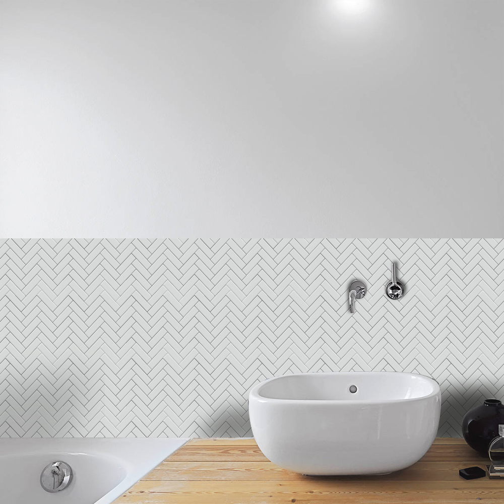 Funlife Self adhesive Waterproof White Herringbone Tiles Kitchen ...