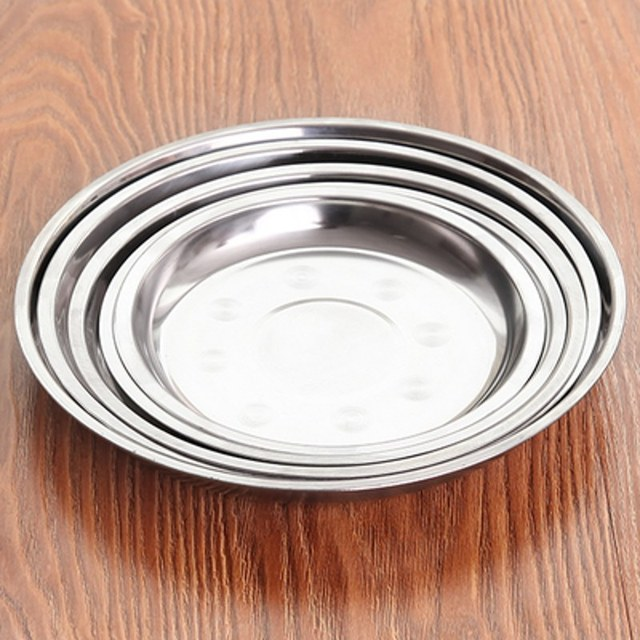 Stainless Steel Plate Thickened Deeper Disk Dinner Dishes Dinnerware Kitchen Tableware Dishes Plates & Stainless Steel Plate Thickened Deeper Disk Dinner Dishes Dinnerware ...