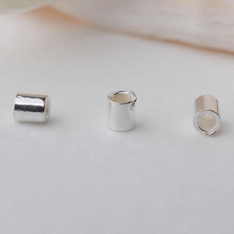 À sertir perle, solide 925 en argent sterling à sertir tube avec trou, micro coupe perle cordon astuce pour tous les perles fil, 1 pièce