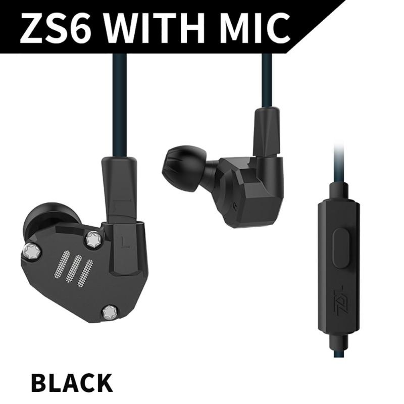 KZ ZS6 2DD 2BA Hybrid In Ear Earphone HIFI DJ Monitor Running Sport Earphone Earplug