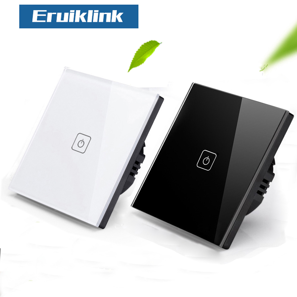 Eruiklink 1gang 1way Crystal Glass Panel Wall Switch,EU/UK Standard Touch Switch Screen Light Switch,AC110V~240V with Indicator 1gang 1way touch switch with remote function 433 92mhz silver aluminum and black glass panel remote switch eu uk hot sale