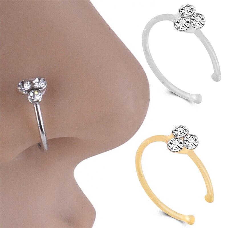 Body Jewelry Stainless Steel Nose Ring punk Piercing Crystal Rhinestone Nose Ring Hoops Piercing Bone Stud Jewelry