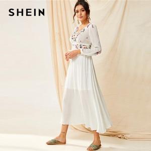 Image 4 - SHEIN Tassel Trim Floral Embroidered White Dress Boho V Neck Bishop Sleeve Maxi Dress Spring High Waist A Line Long Dresses