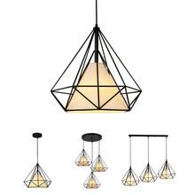 الإبداعية الماس نمط الفن قلادة ضوء الحد الأدنى الرجعية الصناعية الرياح الحديد قفص العصافير قلادة مصباح لمطعم بار مكتب