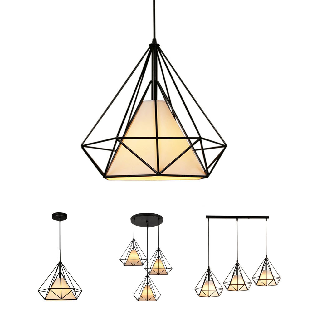 Creative Diamond Style Art Pendant Light Minimalist Retro Industrial Wind Iron Birdcage Pendant Lamp For Restaurant Bar Office