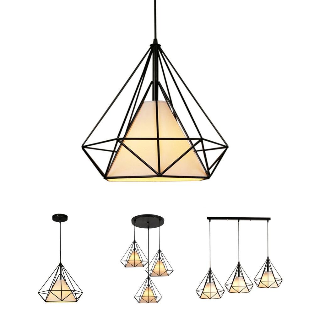 Creative Diamond Style Art Pendant Light Minimalist Retro Industrial Wind Iron Birdcage Pendant Lamp For Restaurant Bar Office