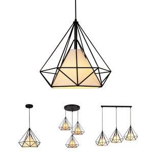 Image 1 - Creative יהלומי סגנון אמנות תליון אור מינימליסטי רטרו תעשייתי רוח ברזל כלוב ציפורים תליון מנורת הבר מסעדת משרד