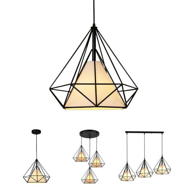 Creative יהלומי סגנון אמנות תליון אור מינימליסטי רטרו תעשייתי רוח ברזל כלוב ציפורים תליון מנורת הבר מסעדת משרד