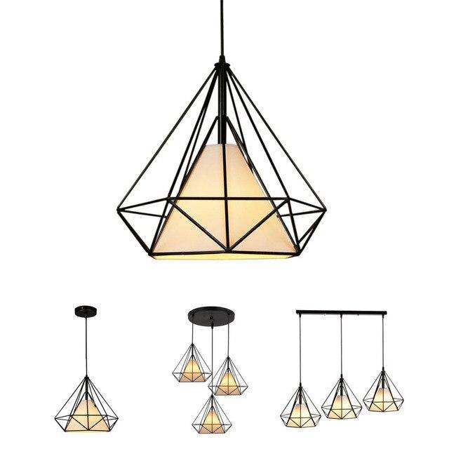 Lámpara colgante de hierro estilo diamante minimalista Retro Para restaurante, Bar y oficina
