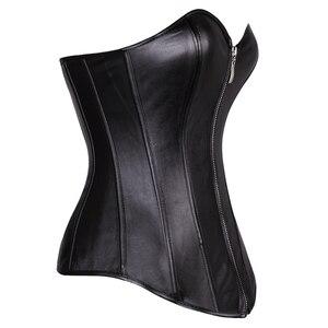 Image 2 - Faux Leather Sexy Zipper Overbust Corsetto delle donne caldo abbigliamento Vita Cincher Più Bustier Costume Plus Size S 6XL