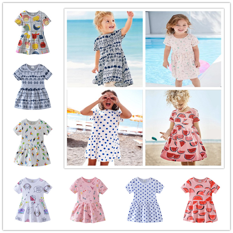 2018 New Summer Age 2-7T Kids Girls Beach One Piece Dress Casual Cartoon Printing Parrot ...