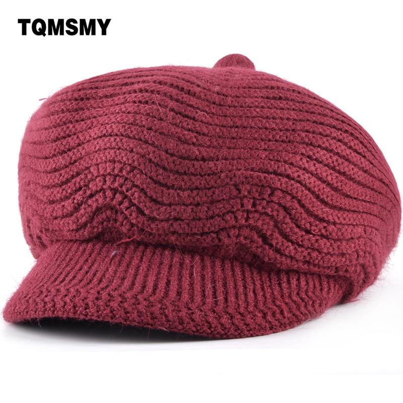 TQMSMY Winter Beret Women Warm Knitted Thicken Rabbit Fur Wool Beret Hat Ladies Beanie Hat Visor Newsboy Hat cap for Women TMC37