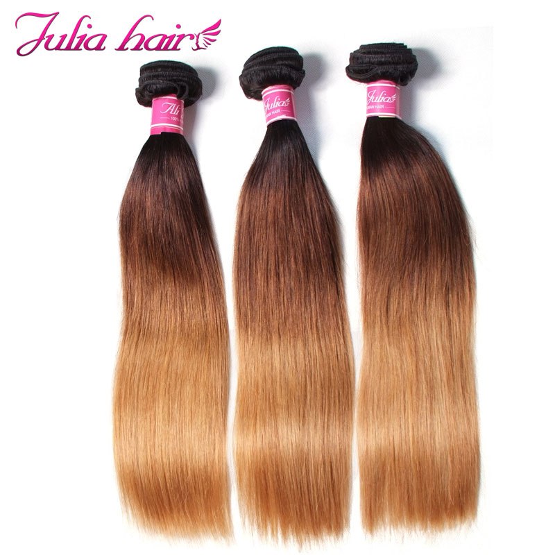 Ali Julia Hair Brazilian Ombre Straight Hair 3 Bundles Human Hair Weave Remy Hair Extension Double