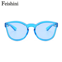 FEISHINI Young Fashion Marine Color Holiday Party Mirror Sunglasses Women Cat Eye 2018 Strong Glasses Men