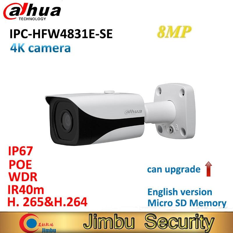 Dahua 8MP IP camera IPC-HFW4831E-SE H.265 WDR IR40m Mini Bullet CCTV Camera IP67 POE Micro SD Memory can upgrade dahua 2mp covert supper mini ip camera ipc hum8230 h 265 poe with unit l1 and l3 micro sd memory without dahua logo
