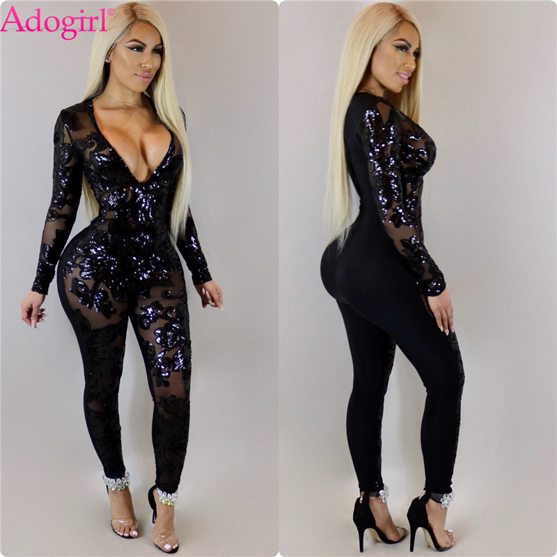 Adogirl 2018 Trendy Sheer Mesh Patchwork Sequins Bandage Jumpsuits Sexy Deep V Neck Long Sleeve Skinny Women Rompers Club Wear
