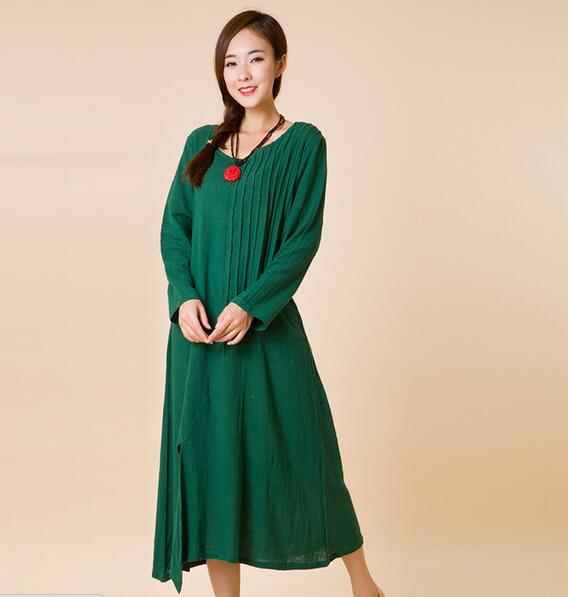 5aebfb1e61aa Female Summer Dress Long Sleeve Cotton Dresses Vintage Clothing Maxi  Bohemian Casual Clothing Uk Style Red White Free Shipping-in Dresses from  Women s ...