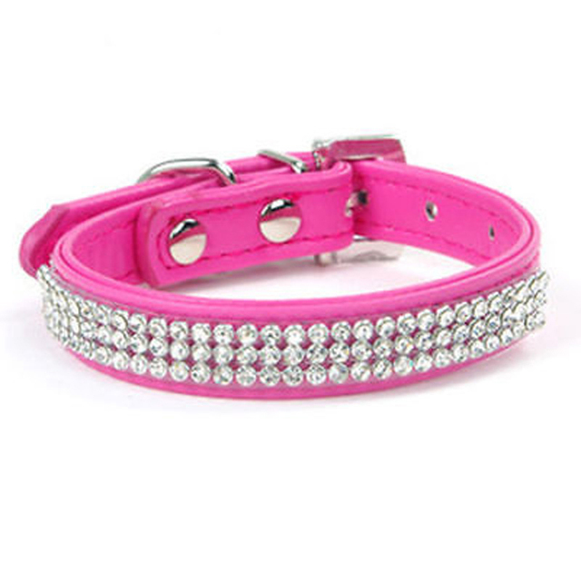 Bling Rhinestone Dog Collars Pet PU Leather Crystal Diamond Puppy Pet Collar Size S/M Collars And Leashes For Dog Accessories