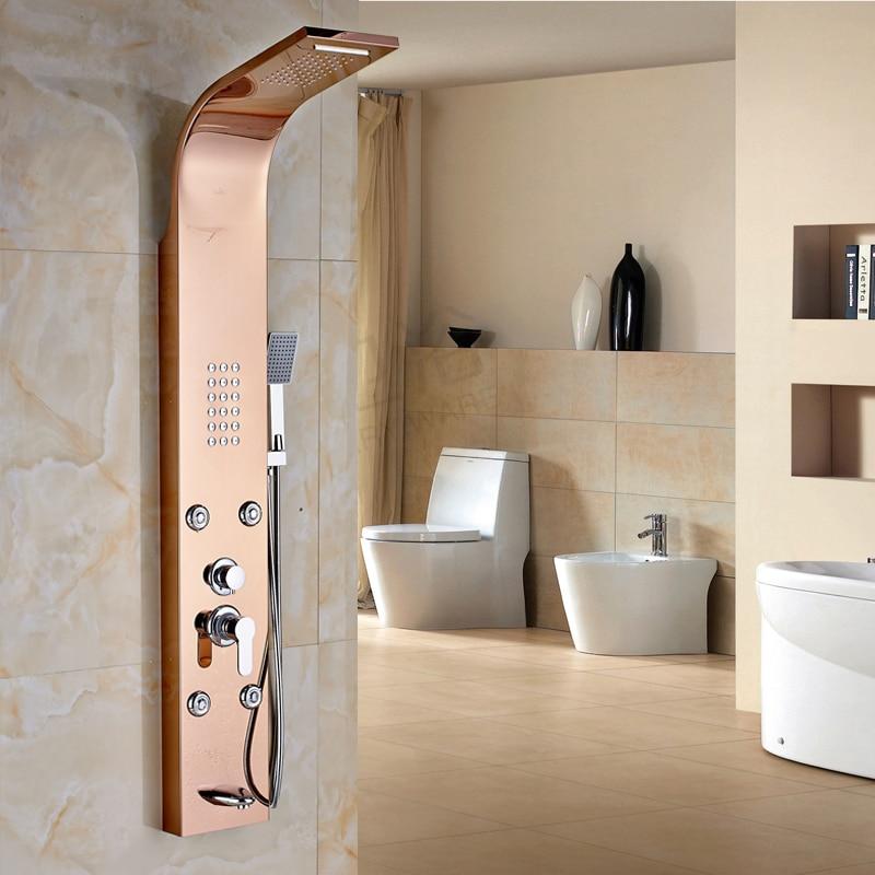 New Arrival Big Promotion Best Quality ABS Handshower Shower Faucet & Panel Rose Golden big promotion 100